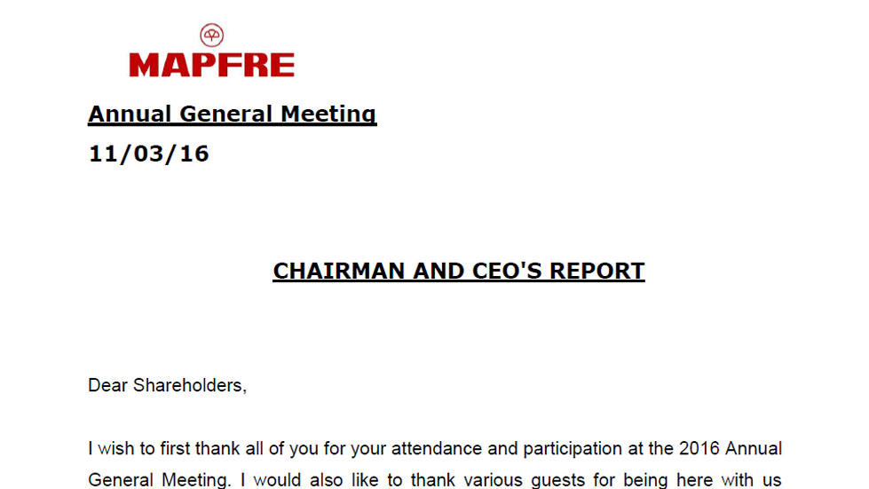 Annual General Meeting 2016. Chairman and CEO's Report
